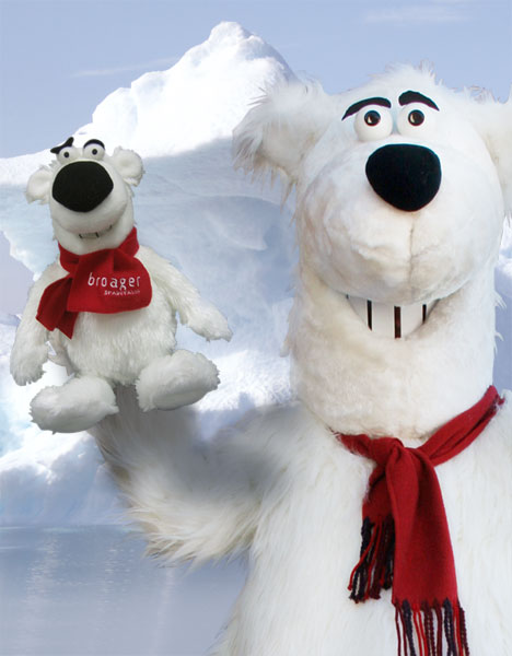 En isbjørne maskot fremstillet for Broager Sparekasse