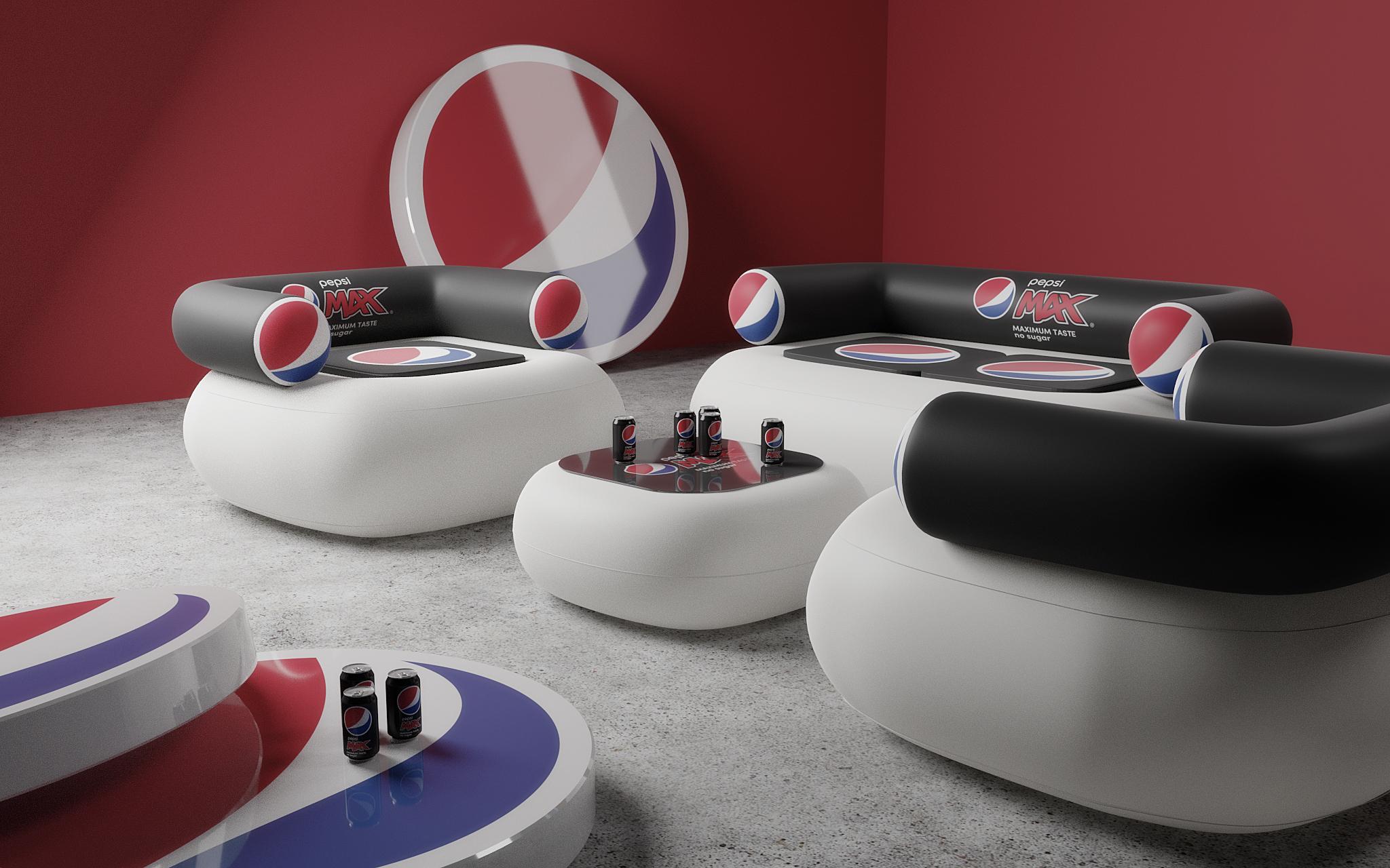 Oppustelige møbler med logo