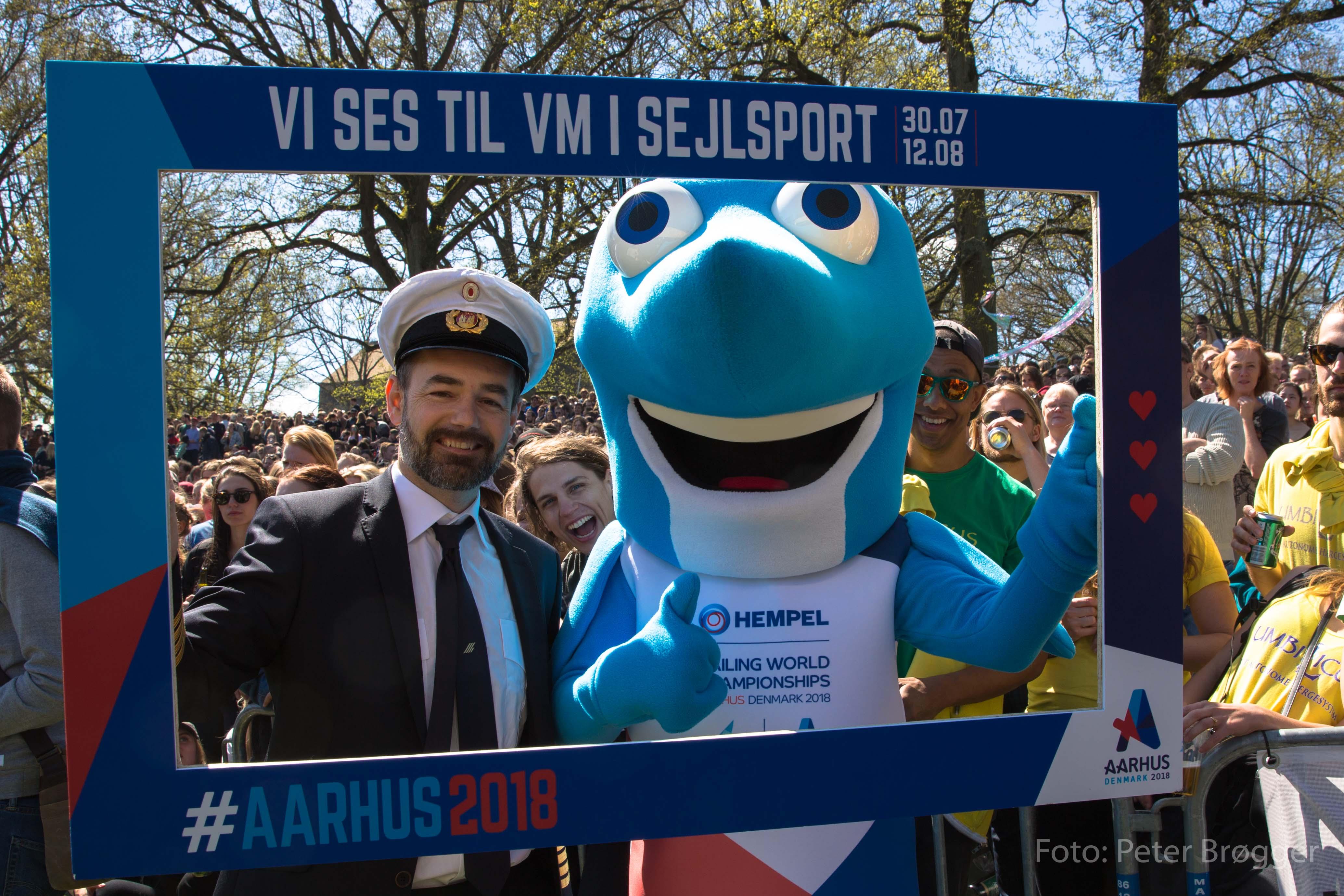Sejlfiksen, maskot og blikfang ved VM i sejlsport 2018