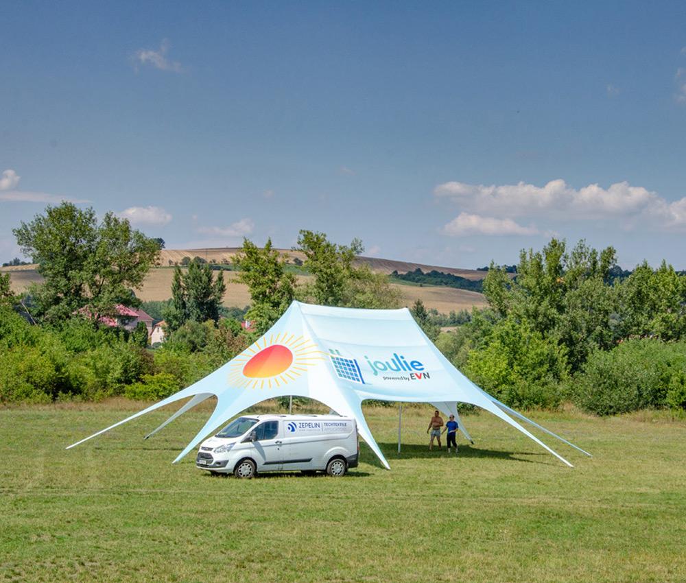 Star tent med print, med to centerpæle