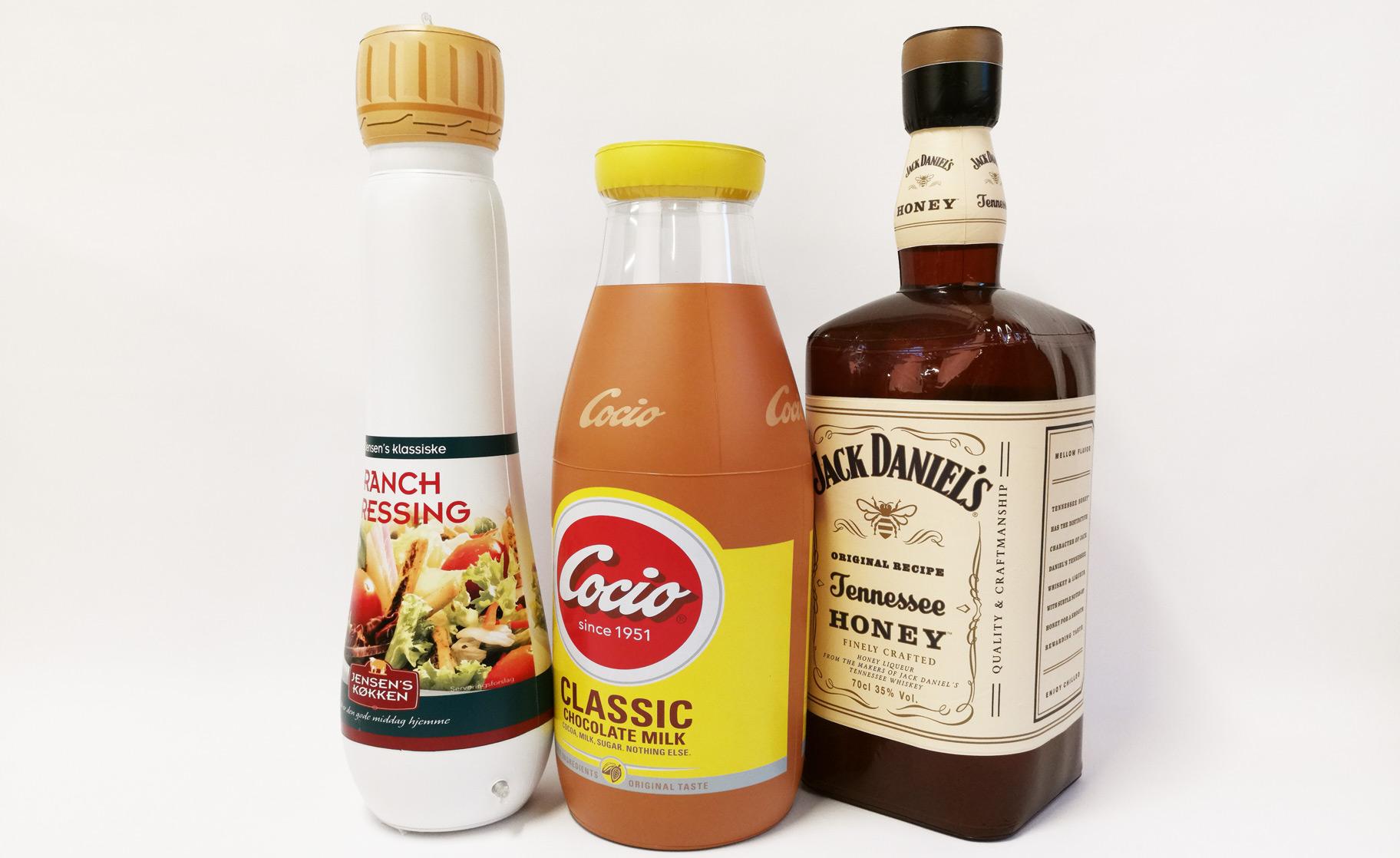 Flasker som oppustelig reklameeffekter