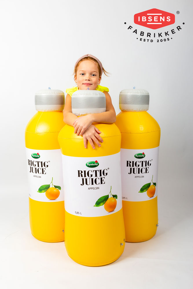 Oppustelige produktkopier, flasker og bøtter